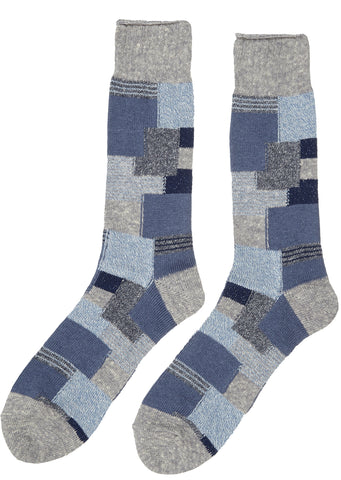 Anonymous Ism Patchwork Indigo Crew Sock in Navy