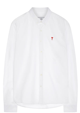 SS17 De Coeur Heart Button Down Shirt in White