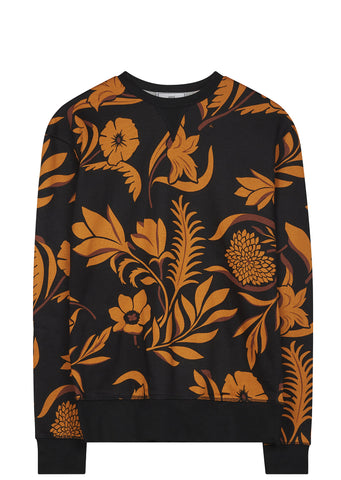 SS17 Flower Print Crewneck Sweatshirt in Black