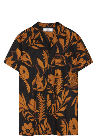 SS17 Flower Print Bowling Shirt in Black