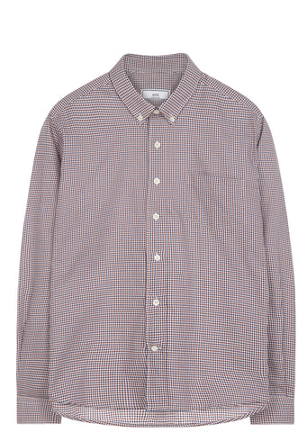 SS17 Button Down Oxford Vichy Check Shirt in Burgundy
