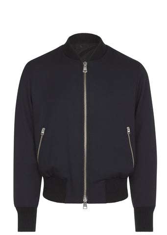 SS17 Barathea Wool Bomber Jacket in Navy