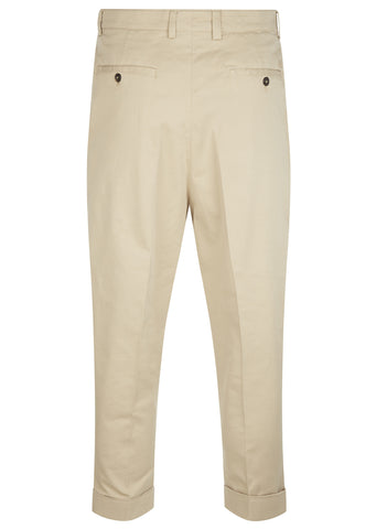 SS17 Carrot Fit Canvas Chino Trousers in Beige