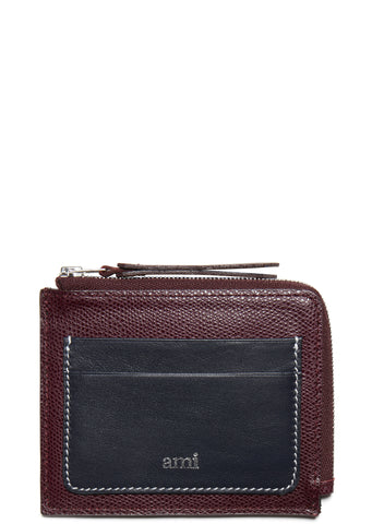 SS17 Square Wallet in Burguny/Navy