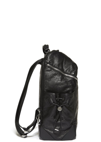 SS17 Wallie Leather Backpack in Black