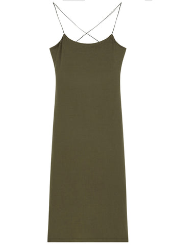 SS17 Modal Cut Out Camisole Dress in Military Green