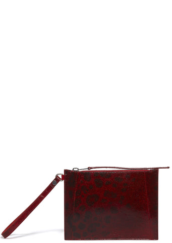 SS17 Leather Fishscale Wrist Pouch in Red
