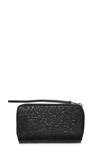 SS17 3D Leather Zipped Wallet in Black