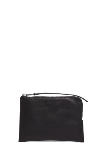 SS17 Leather Zipped Pouch in Black
