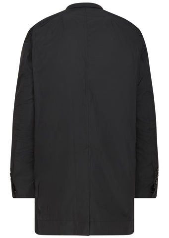 SS17 Treated Compact Nylon Long Jacket in Black
