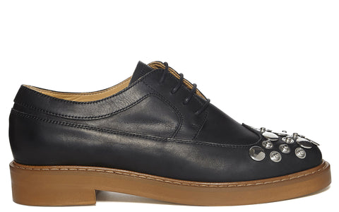 SS17 Studded Leather Wing Tip Brogue in Black