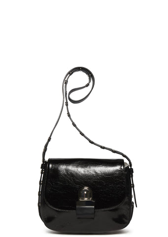 SS17 Leather Stud Strap Cross Body Bag in Black