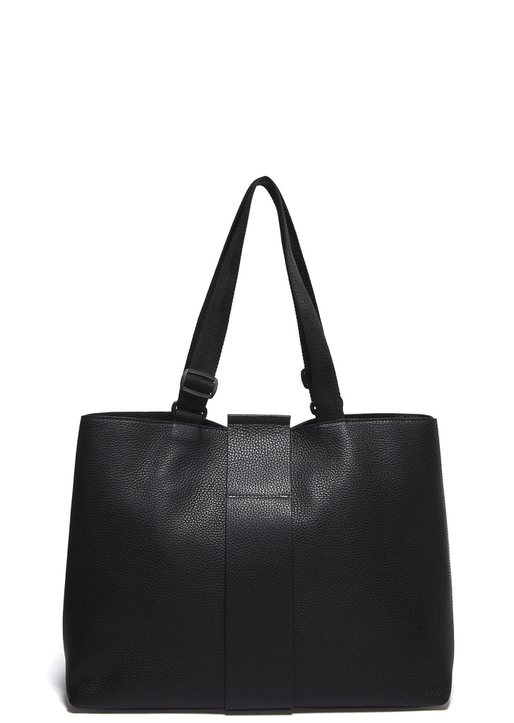 SS17 Grained Leather Tote Bag in Black