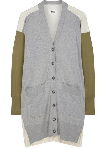 SS17 Colour Panel Long Cardigan in Grey