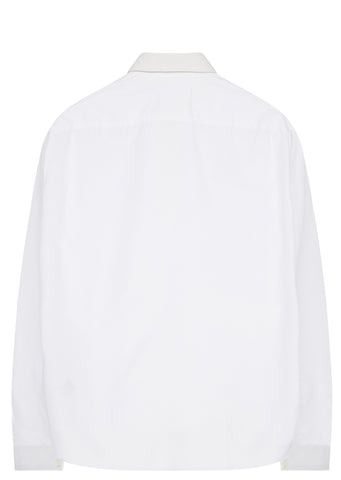 SS17 Grosgrain Trim Poplin Shirt in White