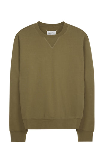 SS17 Elbow Patch Crewneck Sweatshirt in Olive