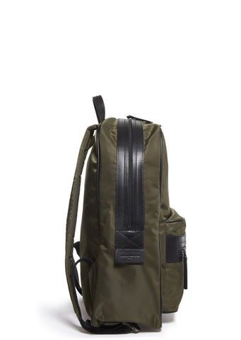SS17 Leather Trim Nylon Tote Bag in Army
