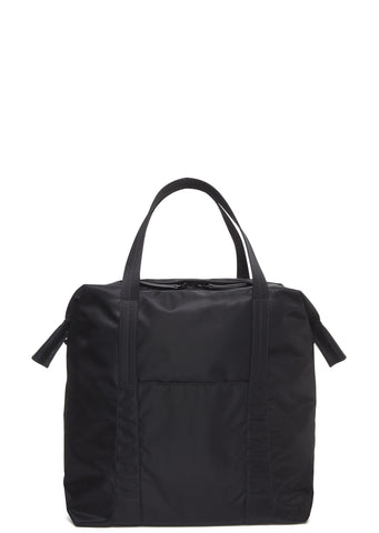 SS17 Leather Trim Nylon Tote Bag in Black