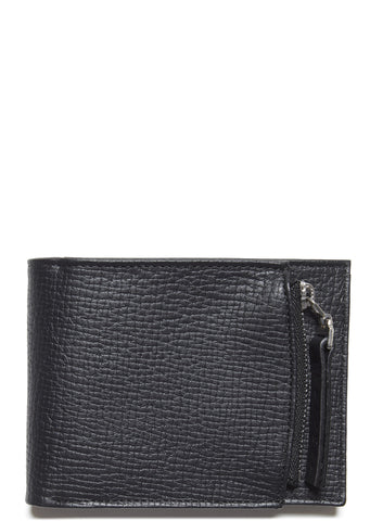 SS17 Printed Calf Leather Zip Wallet in Black