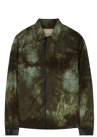 SS17 Zipped Tie Dye Overshirt in Military Green