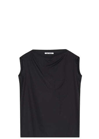 SS17 Poplin Boatneck T-shirt in Black