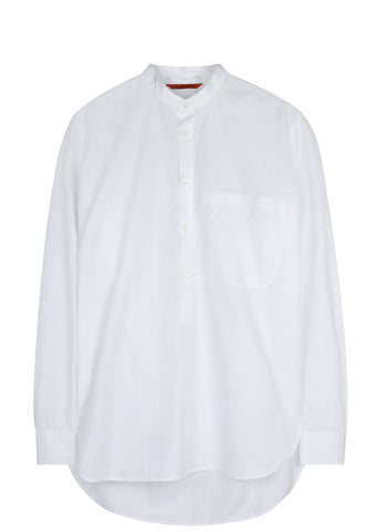SS17 Ciospa Oxford Long Line Granddad Collar Shirt in White