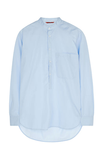 SS17 Ciospa Oxford Long Line Granddad Collar Shirt in Light Blue