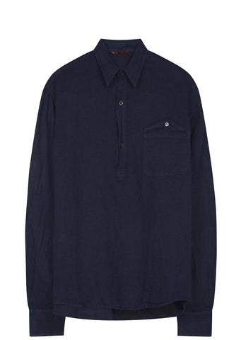 SS17 Rada Textured Linen Popover Shirt in Navy