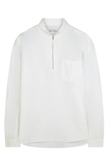 SS17 Shawl Zip Shirt in White