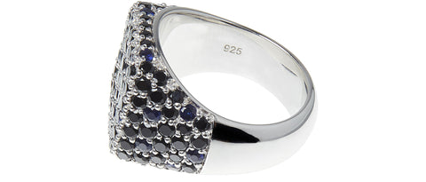 SS17 Oval Cocktail Blue Ring in Silver