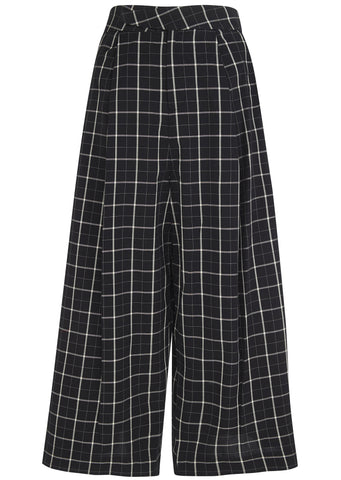 SS17 Culotte in Black Grid Check