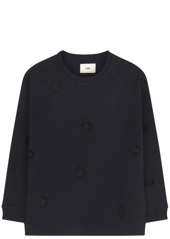 SS17 Fluffy Dot Sweatshirt in Black