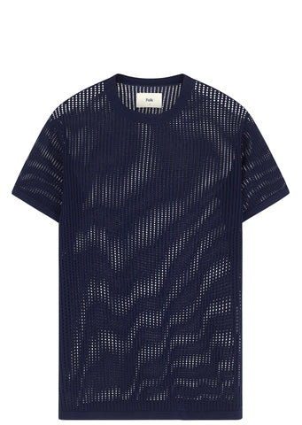 SS17 Holes Knit T-shirt in Navy