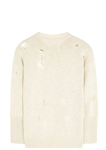 SS17 Distressed Jumper in Ecru