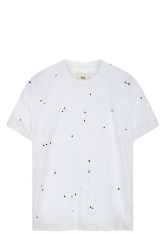 SS17 Microdot T-Shirt in White/Navy
