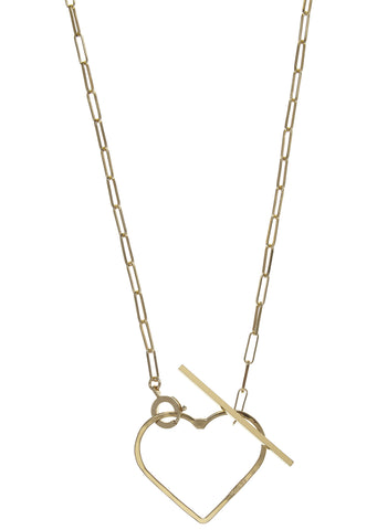 SS17 Medium Heart On Rock Lariat Necklace in Gold