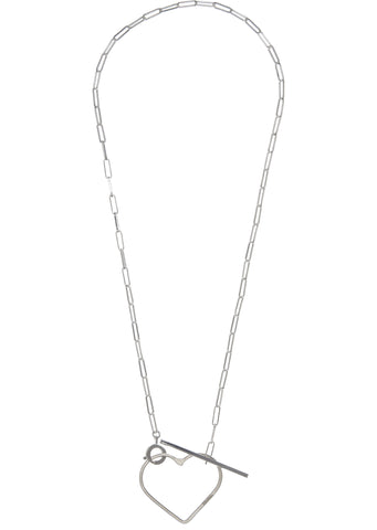 SS17 Medium Heart On Rock Lariat Necklace in Silver