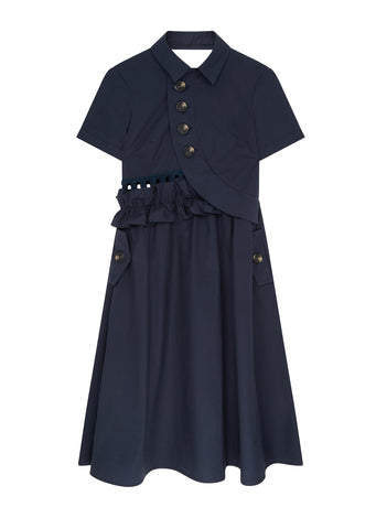 Button Shirt Midi Dress in Blue