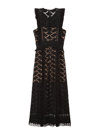 Cutwork Midi Dress in Black