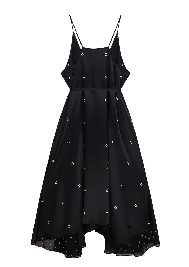 AW17 Silk Charmeuse V-neck Trapeze Dress in Black