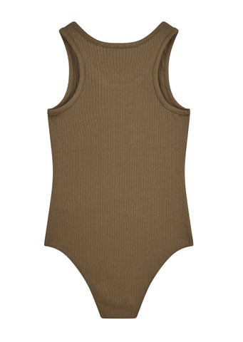 AW17 Sleeveless Ribbed Bodysuit in Cargo Green