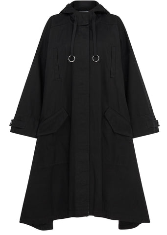 AW17 Oversized Hooded Parka in Black