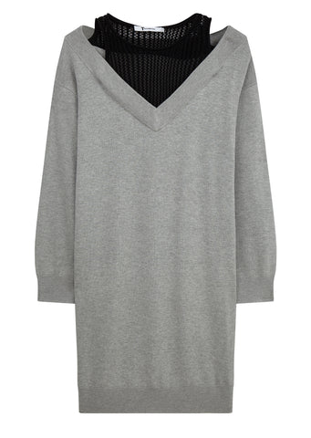 AW17 Knit Dress with Inner Mesh Tank in Grey