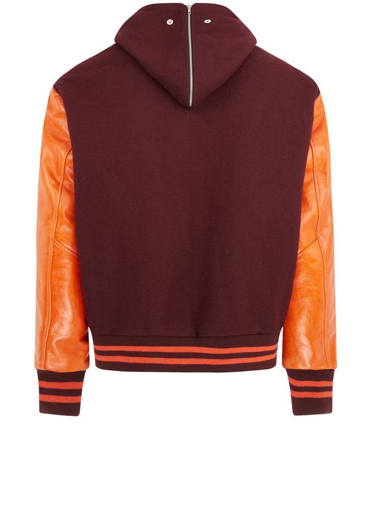 AW17 Wool and Leather Sport Jacket in Red