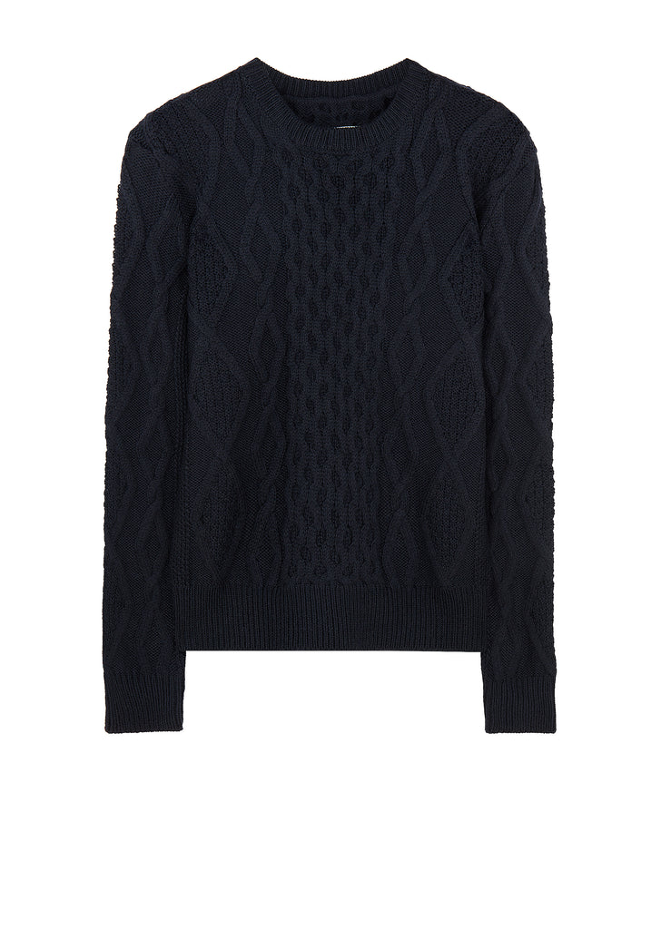 AW17 5 Gauge Oversized Cable Crew Knit in Navy