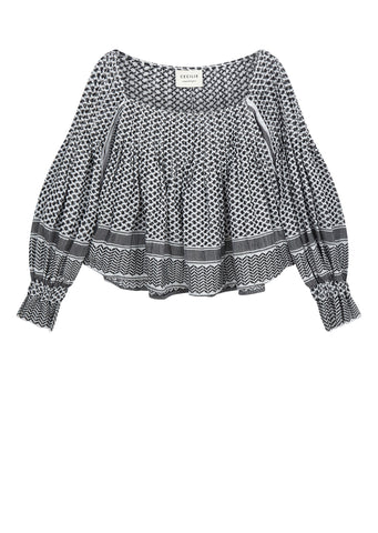 AW17 Printed Pleat Blouse in White / Black