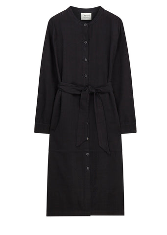 AW17 Long Collar Shirt Dress in Black