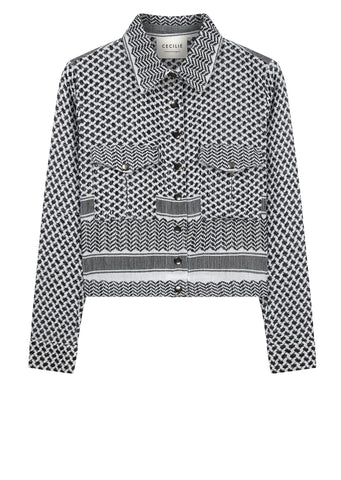 AW17 Short Jacket in White / Black