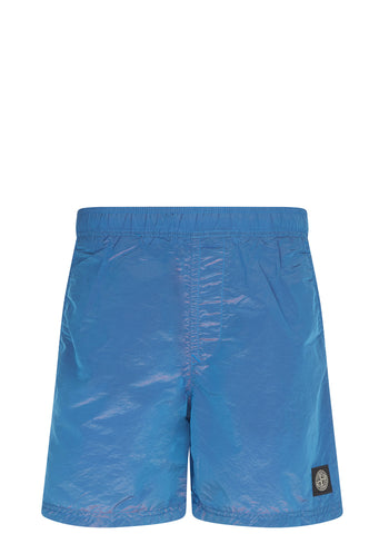 SS17 Nylon Metal Coloured Weft Swim Shorts in Turquoise