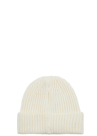 AW17 Ribbed Merino Wool Beanie in White